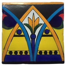 Hand-Painted Yellow Talavera Tile (Pattern RT6156)