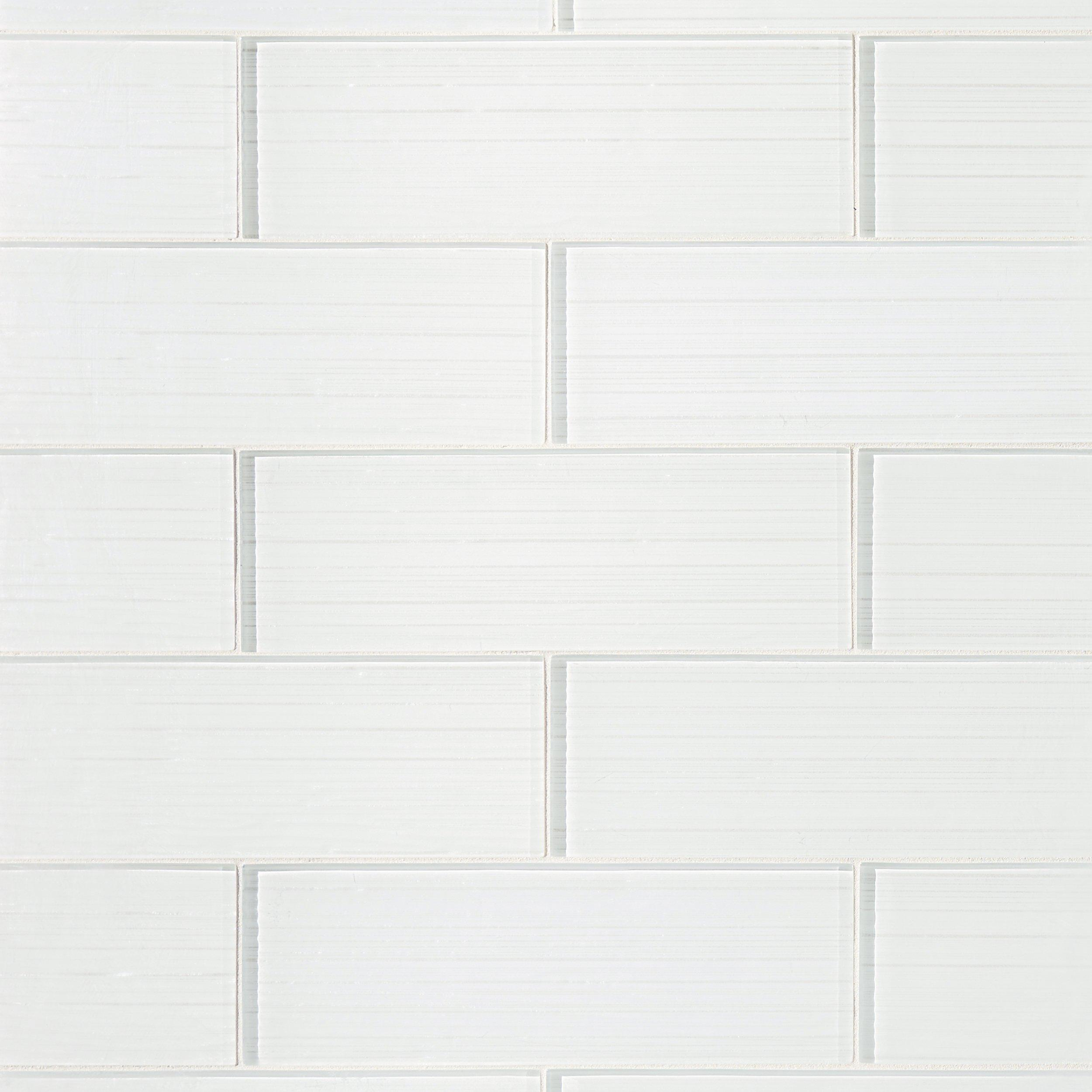 Crystal White Ice Glass Tile 4in x 12in 100088418 Floor