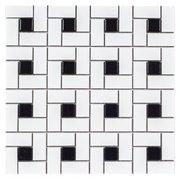 White and Black Pinwheel Porcelain Mosaic