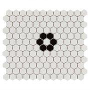 White and Black Hexagon Porcelain Mosaic