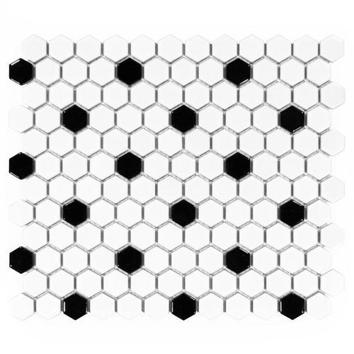 White And Black Hexagon Ii Porcelain Mosaic 10 X 12 100104694