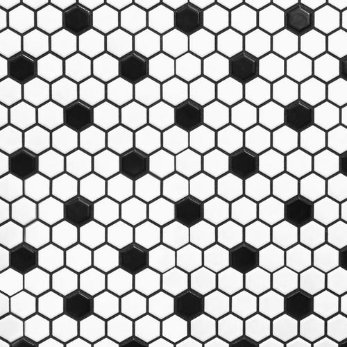 White And Black Hexagon Ii Porcelain Mosaic 10 X 12 100104694 Floor And Decor