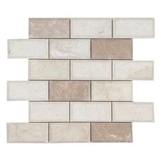 Ice Beige Beveled Brick Marble Mosaic