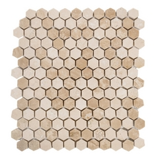 Mini Hexagon Travertine Mosaic