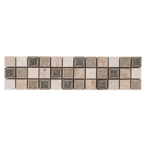 Mix Crackle Linear Travertine Mosaic Border - 3 X 12 - 100110444