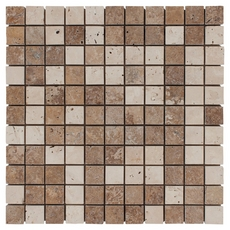 Mixed Brushed Travertine Mosaic