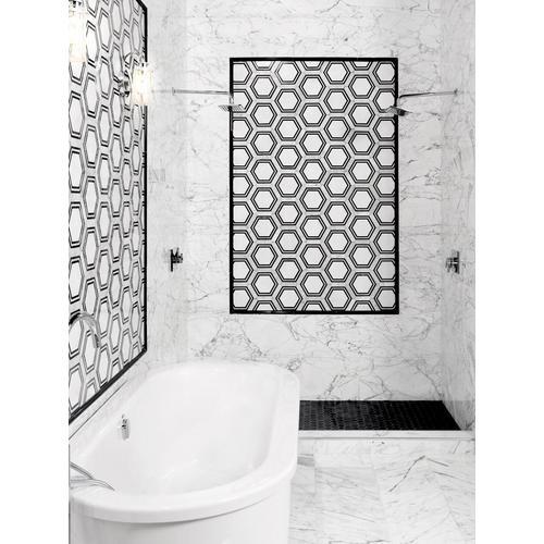 Nero Marble Hexagon Mosaic - 12 x 12 - 100287937   Floor and Decor on hexagon floors with gray bathrooms, hexagon wall tiles, hexagon lighting design, hexagon metal design, black hex tile design, hexagon mosaic tiles, dark tile design, hexagon quilts using jelly rolls, black colour with tiles bathroom design, small bathroom interior design, river rock shower tile design,