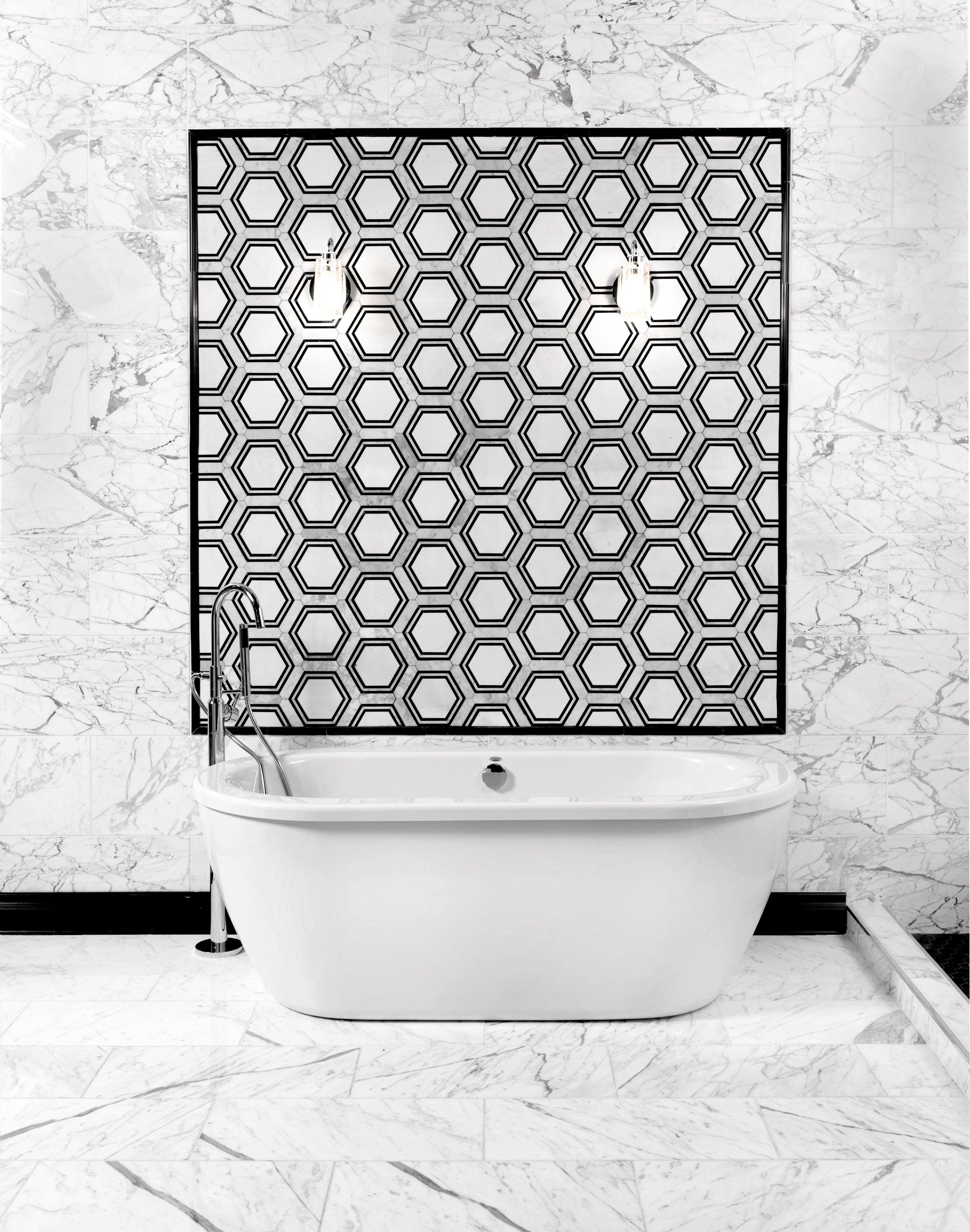 ... Bathroom 1: Statuario Classic Polished Marble Tile Pencil Carrara Thassos Hexagon ...