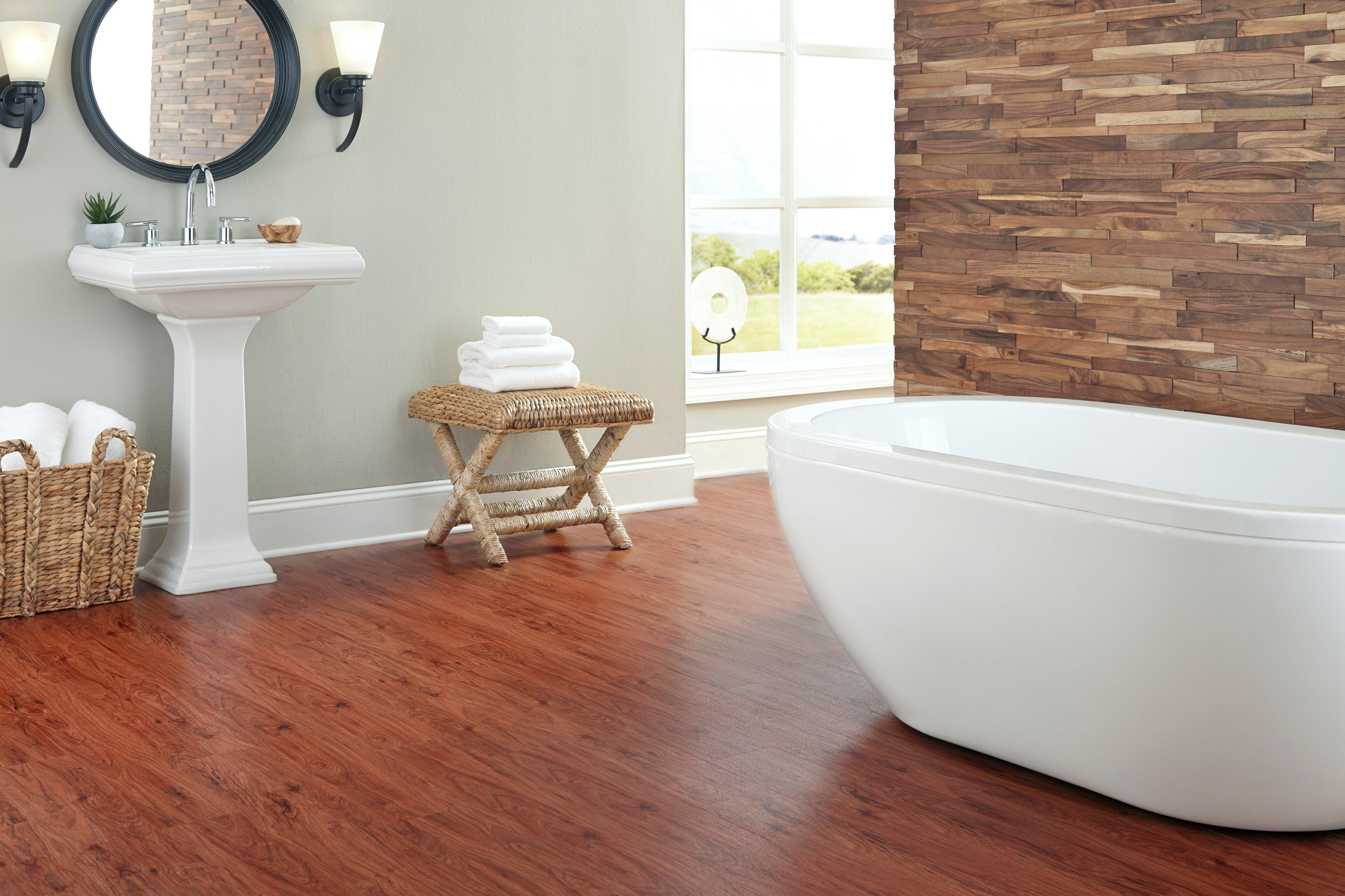 ... Rooms, Bathroom 1: Hickory Luxury Vinyl Plank Bathroom Floor Room ...