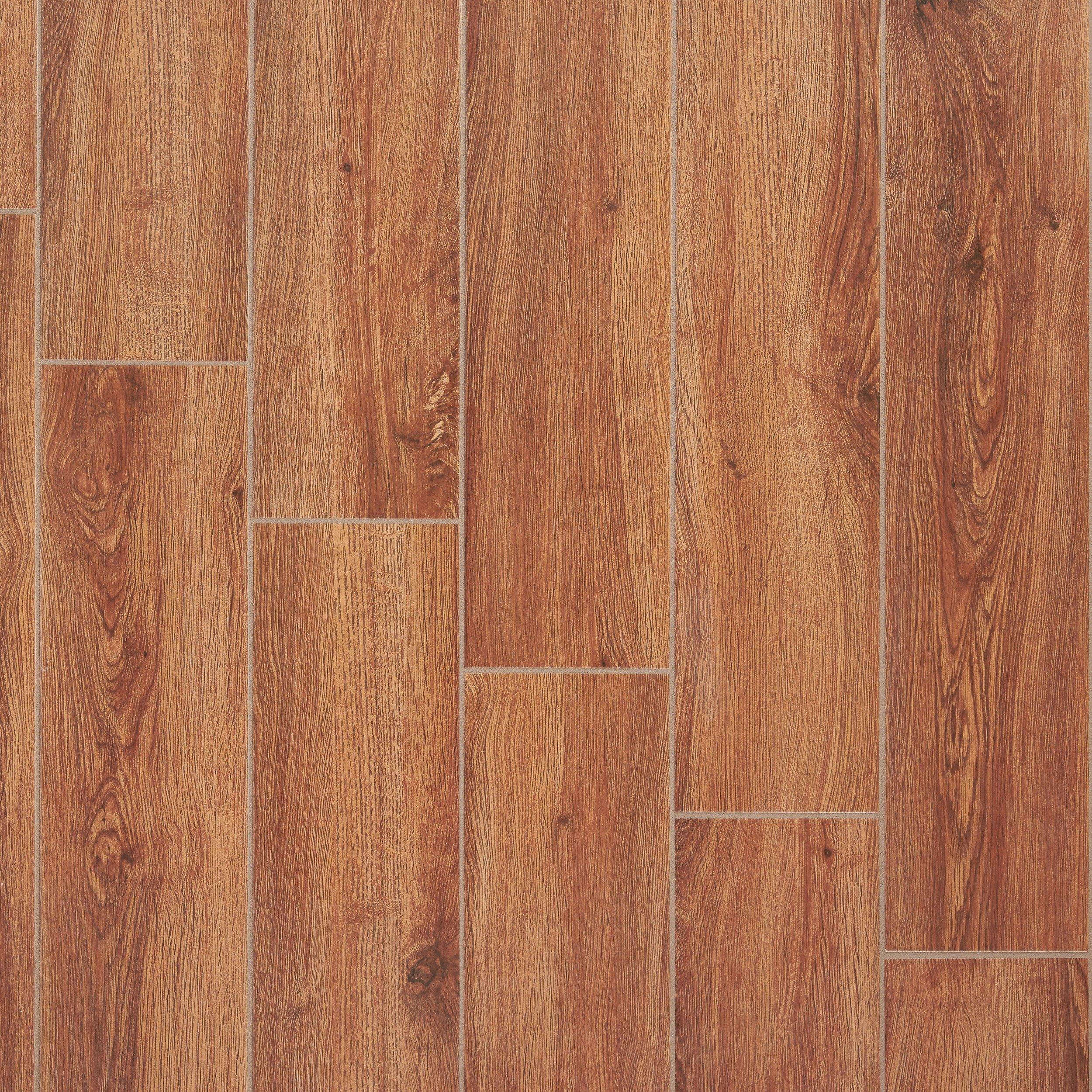 Fulham Red Wood Plank Ceramic Tile 6in x 32in 100131457