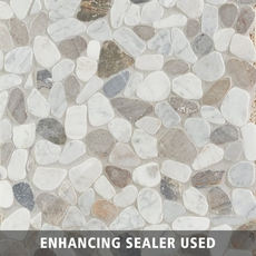 Bianca Carrara Mix Pebblestone Mosaic