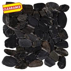 Clearance! Flat Black High Polished Pebblestone Mosaic
