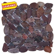 Clearance! Flat Red High Polished Pebblestone Mosaic