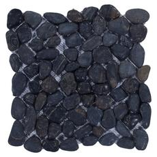 Round Black Honed Pebblestone Mosaic