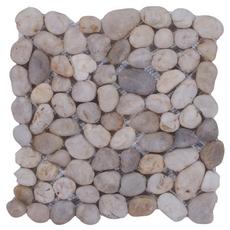 Round White Honed Pebblestone Mosaic