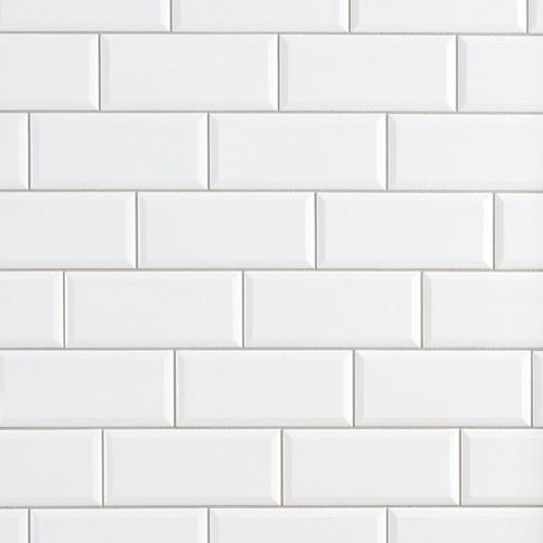 Bright White Ice Beveled Ceramic Wall Tile - 4in. x 10in. - 100132448 |  Floor and Decor