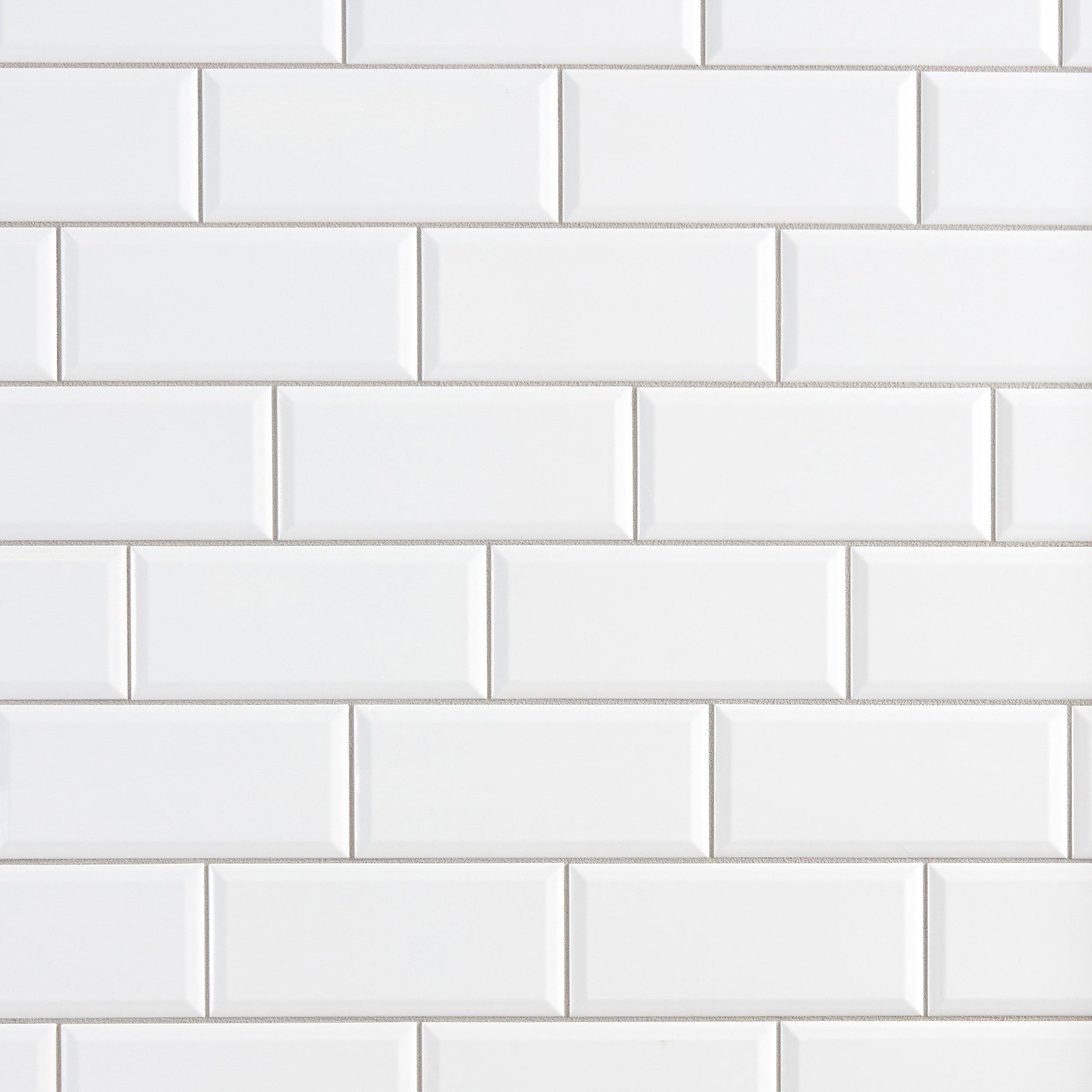 Bright White Ice Beveled Ceramic Wall Tile   4 X 10   100132448 | Floor And  Decor