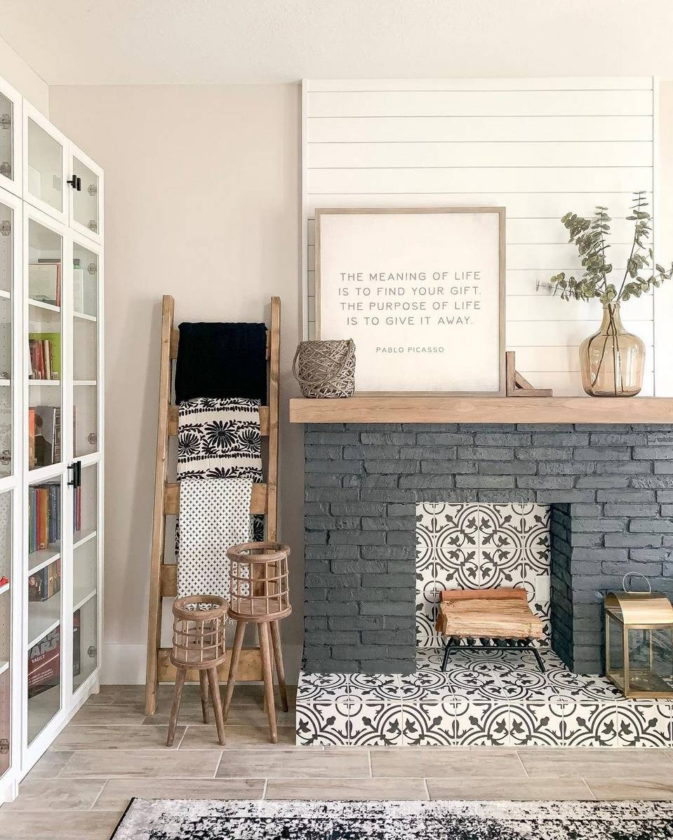 grey brick fireplace with tiled interior