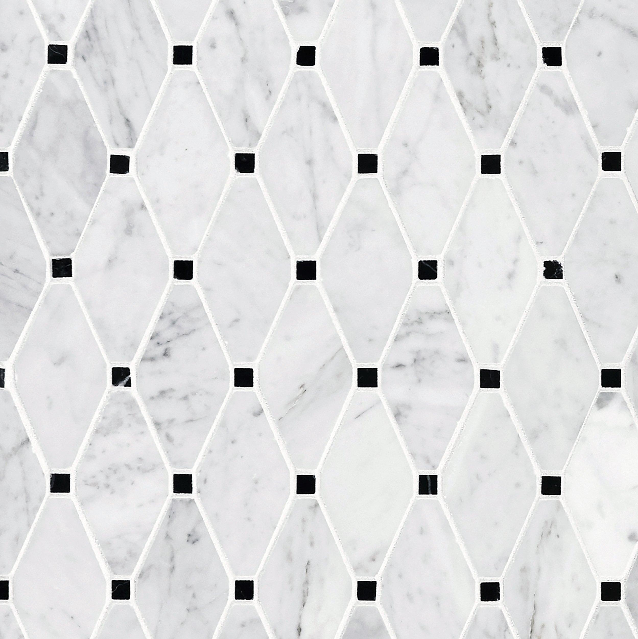 Carrara Clipped Diamond Polished Marble Mosaic 12 X 12