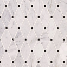 Carrara White Clipped Diamond Marble Mosaic