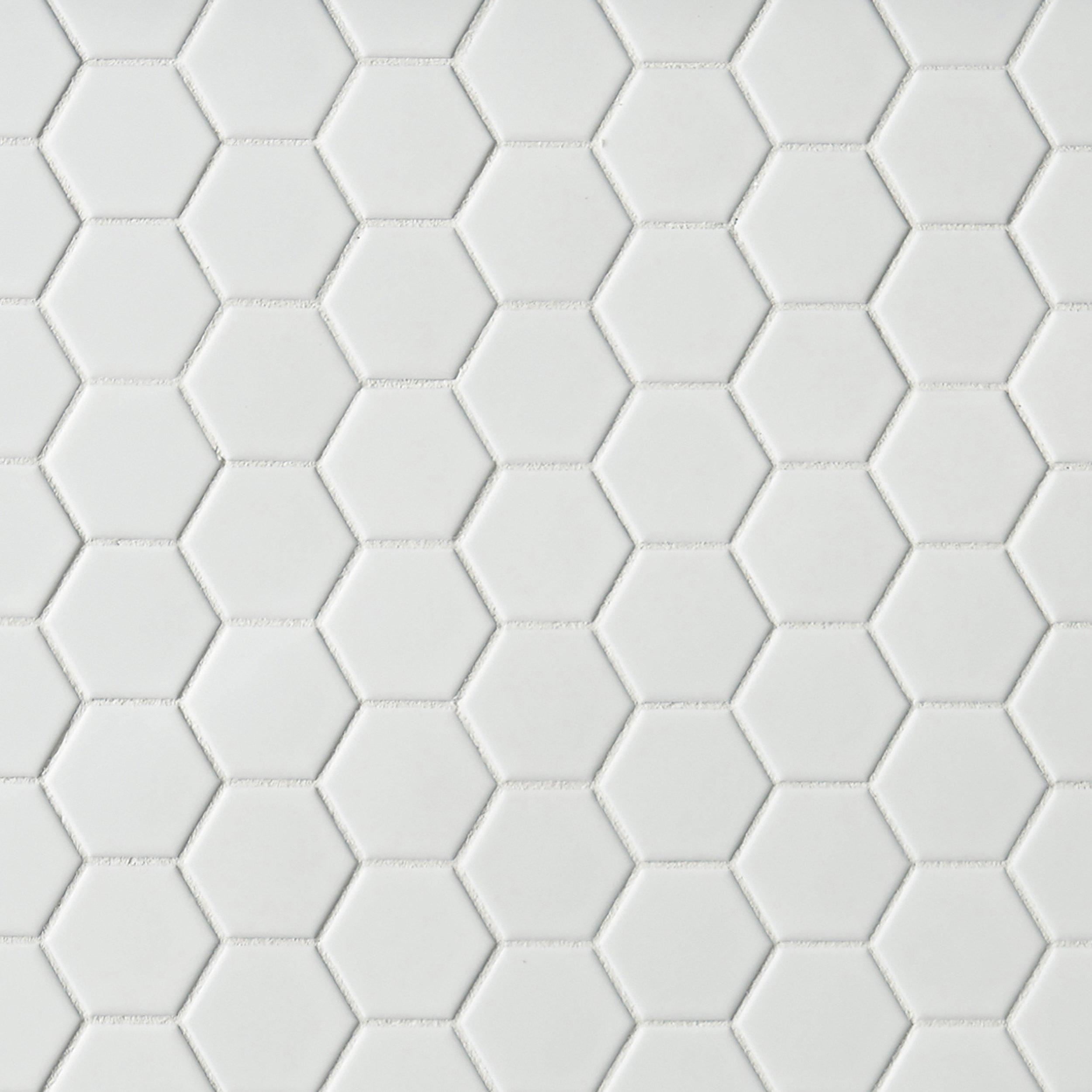 Metro White Matte Hexagon Porcelain Mosaic   12 X 12   100139260 | Floor  And Decor