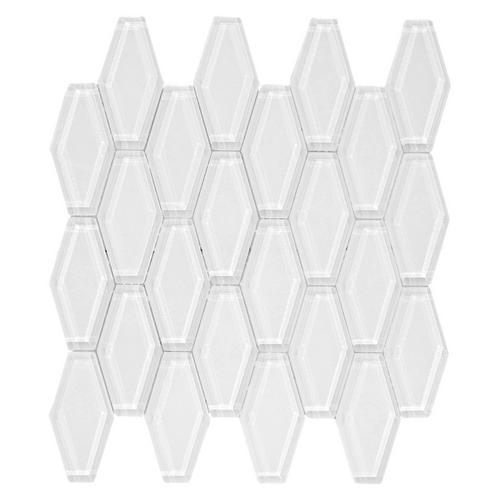 Snow White Elongated Hexagon Glass Mosaic 12 X 12 100141423