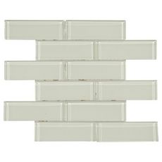 Pure Ivory Brick Glass Mosaic