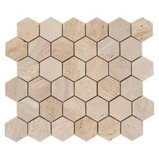 Light Beige Vein Cut Hexagon Travertine Mosaic