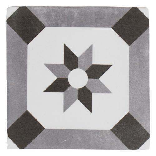 Barcelona White And Black Ceramic Tile X Floor - 5x5 white ceramic tile