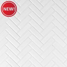 New! White Herringbone Porcelain Mosaic