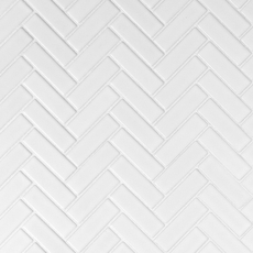 White Herringbone Porcelain Mosaic