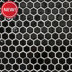 New! Black Hexagon Porcelain Mosaic