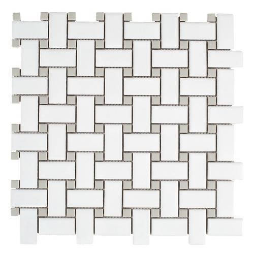 Matte Gray Dot Basketweave Porcelain Mosaic 12 X 12 100236223