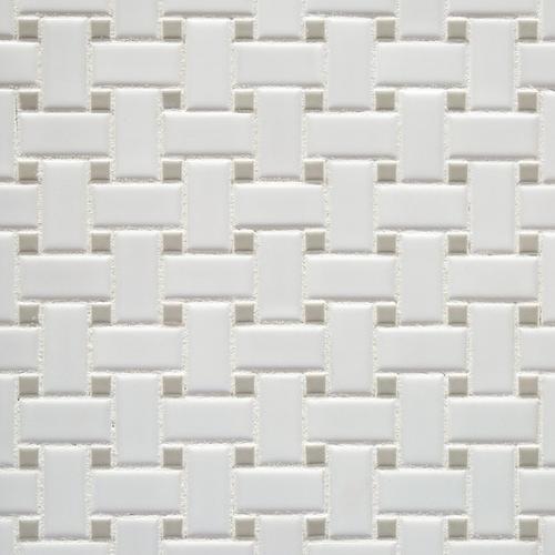 Matte Gray Dot Basketweave Porcelain Mosaic X - Carrara basketweave tile gray dot