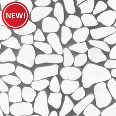 New! Tumbled Thassos Flat Pebblestone Mosaic