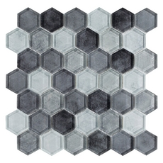 Fade to Black Hexagon Glass Mosaic