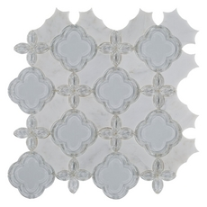 Carrara White Fiore Marble and Glass Mix Waterjet Mosaic