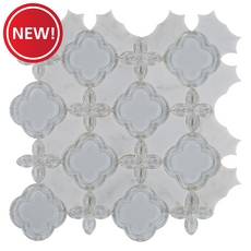 New! Thassos Marble and Glass Mix Fiore Waterjet Mosaic