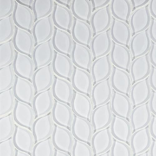 Winter Cloud Leaf Polished Glass Mosaic 11 X 12 100248301 Floor And Decor