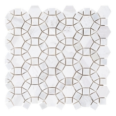 Carrara Circulos Mother of Pearl Marble Mosaic