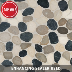 New! Bodrum Cool Blend Flat Pebblestone Mosaic