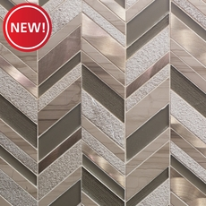 New! Metallico Glass and Copper Chevron Mosaic