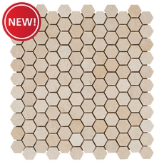 New! Casa Antica Gold Hexagon Limestone Mosaic