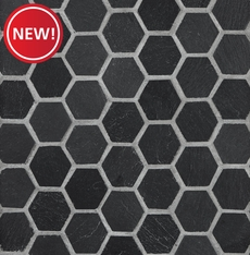 New! Black Hexagon Slate Mosaic