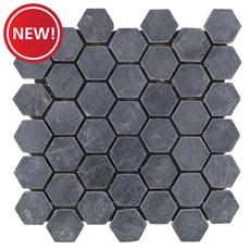 New! Black Slate Hexagon Mosaic