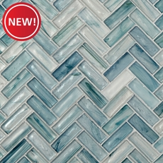 New! Neptune Herringbone Glass Mosaic