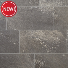 New! NuCore Dark Gray Tile Plank with Cork Back
