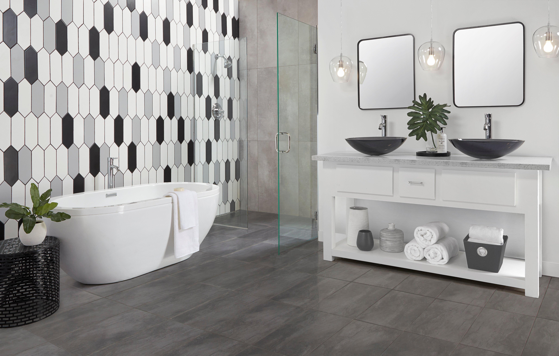 ... Bathroom 5: Vista Gray Ceramic Tile, White Picket Ceramic Tile, Black  ...