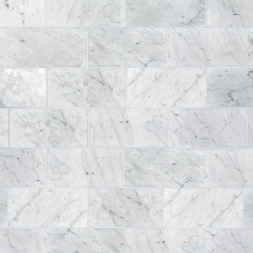 Bianco Carrara Honed Marble Tile 6 X 12 100403401 Floor And