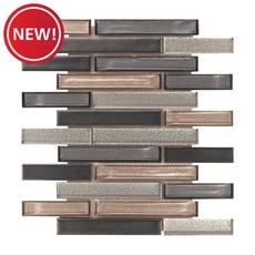 New! Montage Liquid Titanium Linear Glossy Glass Mosaic